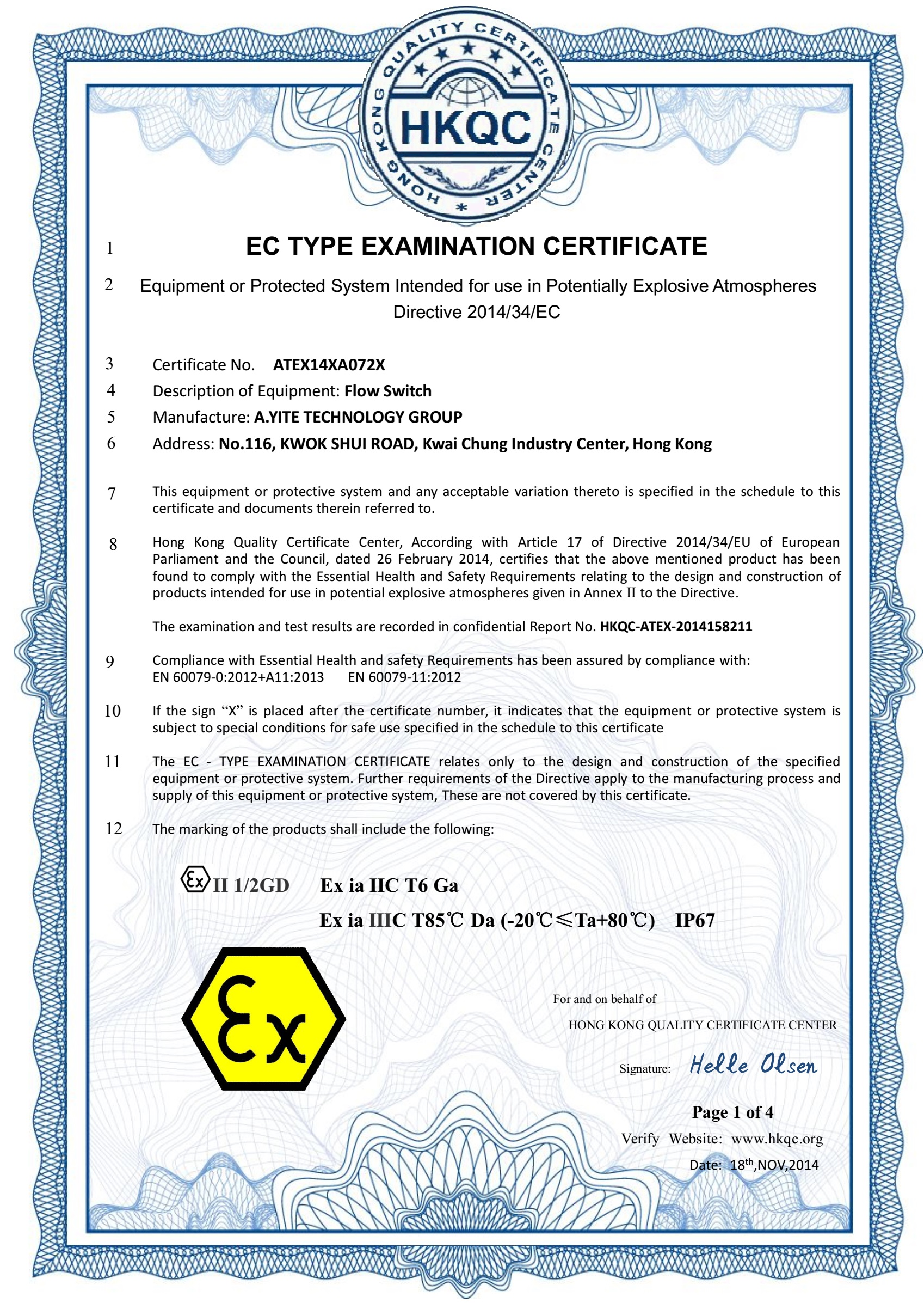 ATEX Intrinsic Safety Ex-proof